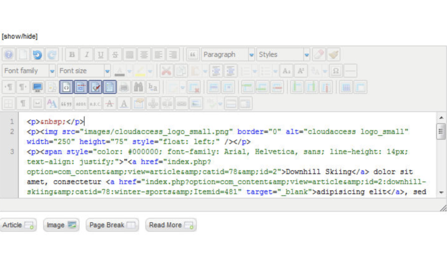 Joomla Editor Showing the Source Mode
